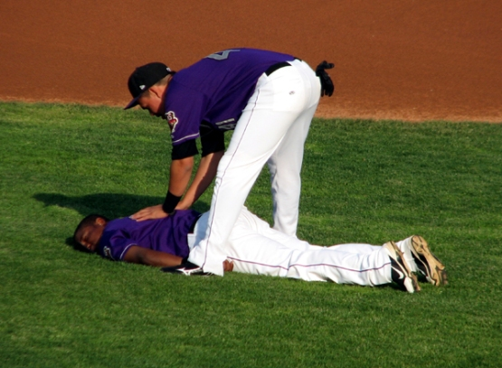 canal-park-akron-aeros-players-stretching