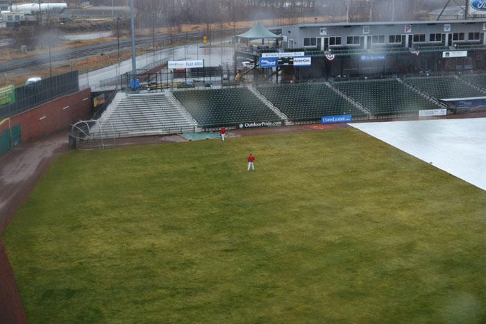 northeast-delta-dental-stadium-players-catch-from-hotel