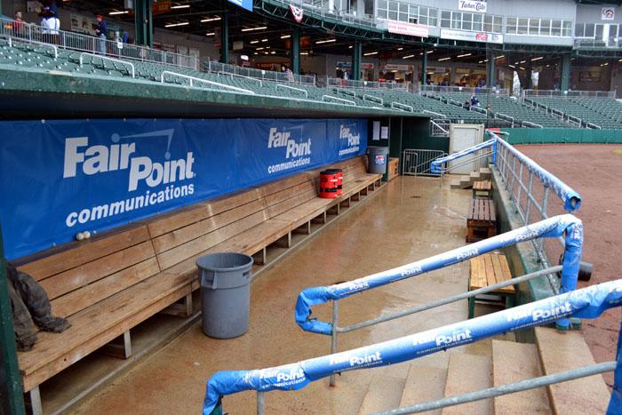 northeast-delta-dental-stadium-rain-delay-dugout