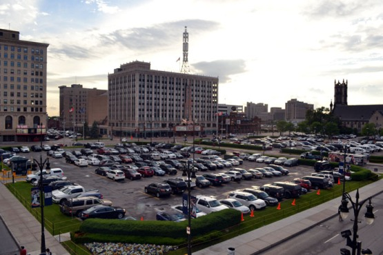 comerica-park-fox-theatre-parking-lot-sunset